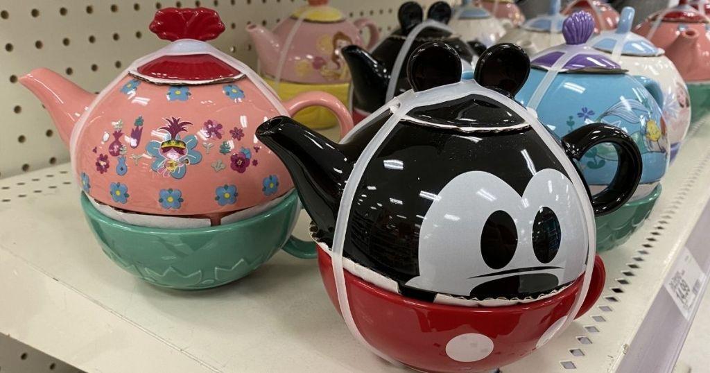 Target Disney Mickey Mouse Tea Set on shelf w other tea sets