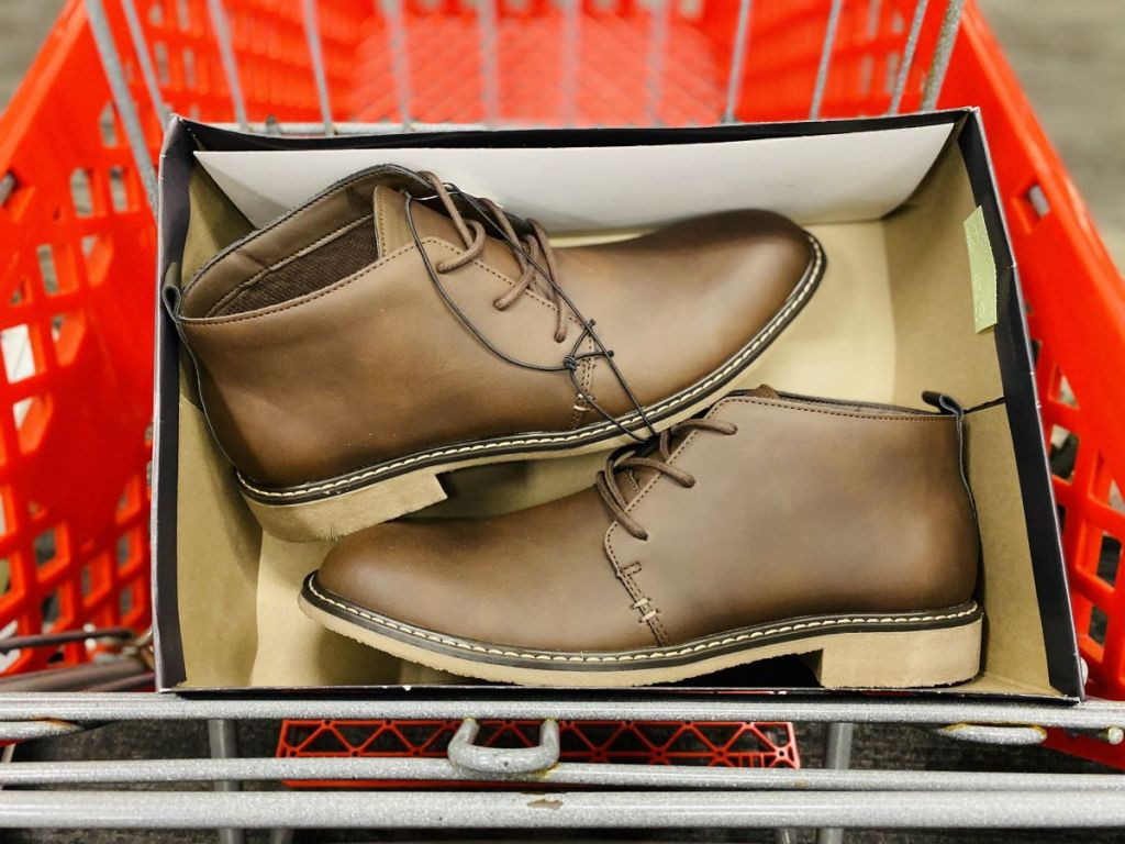 pair of boots in a Target cart