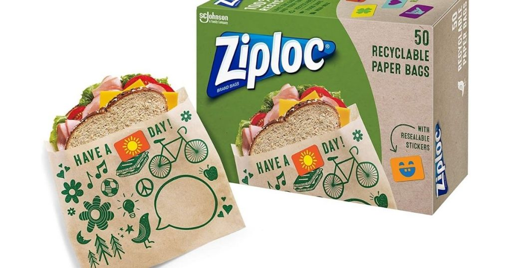 Ziploc 50-Count Paper Sandwich Bags with sandwich in bag