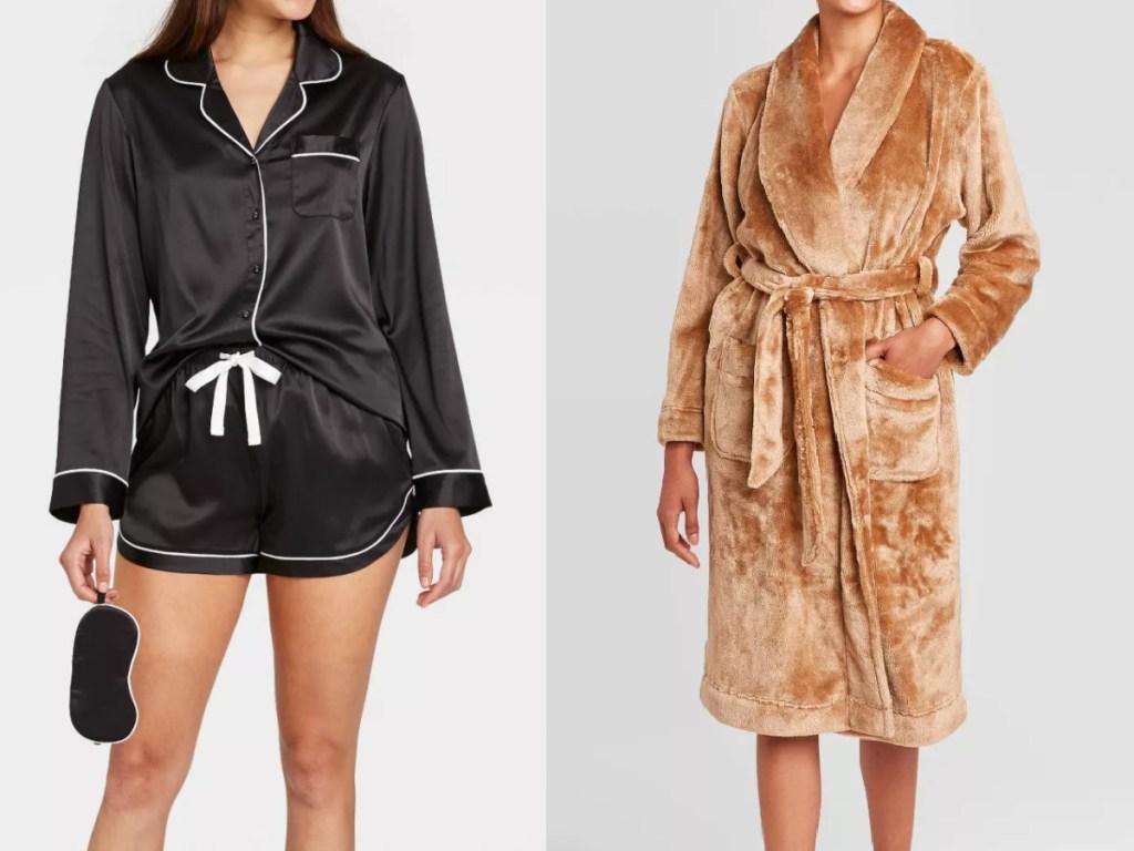 woman wearing satin sleepwear set and a gold robe