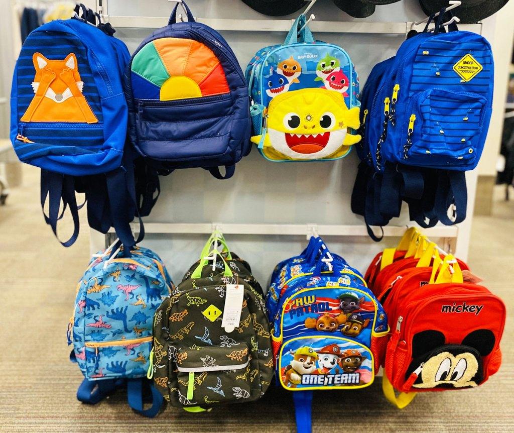 toddler boys backpacks on display rack at target