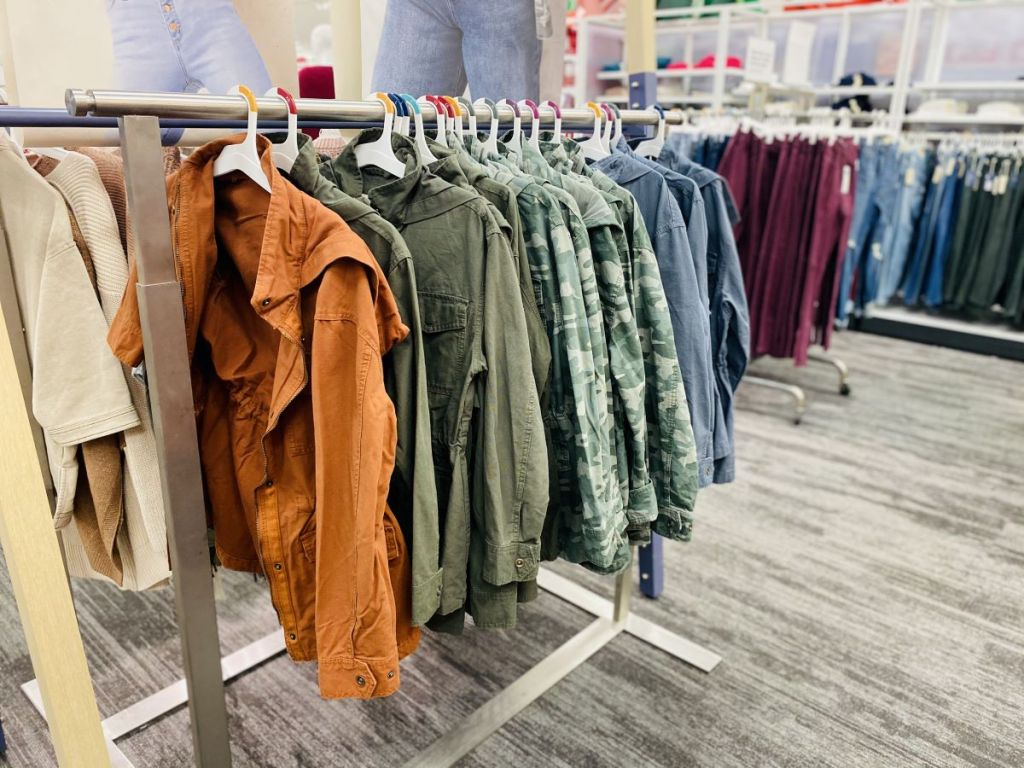 women's jackets on hangers at Target