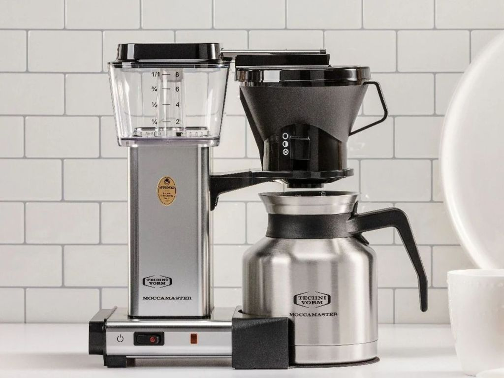 Technivorm Moccamaster 79212 KBTS Coffee Brewer, 32 oz, Polished Silver on counter