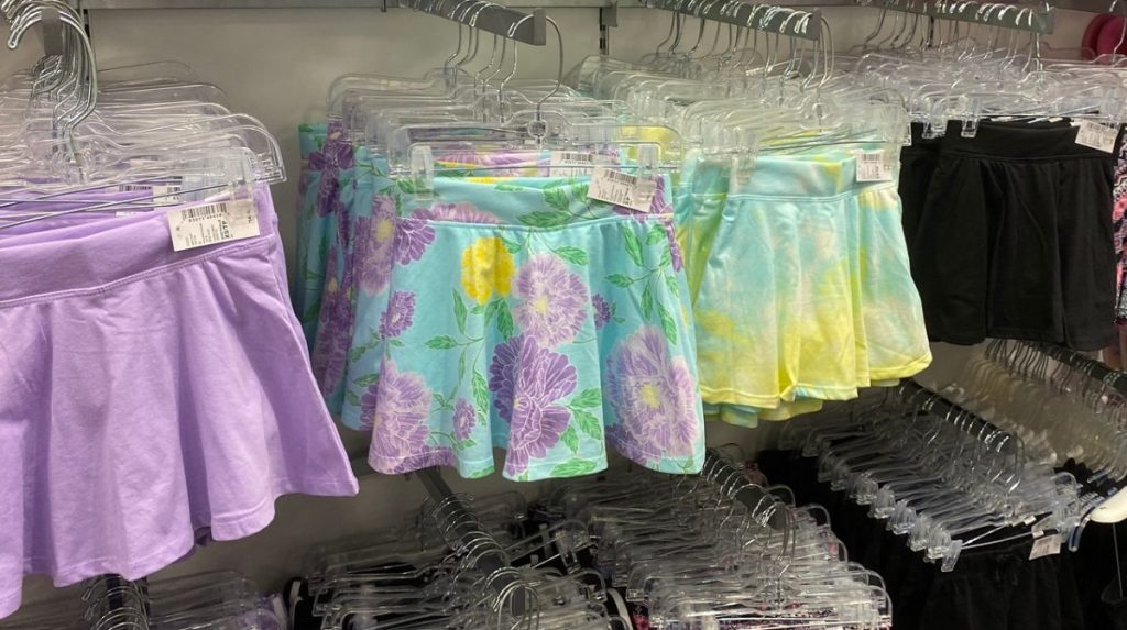 girls skirts hanging in store