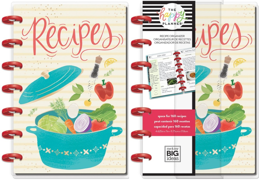 side by side image of The Happy Planner Blue & Red 'Recipes' Organizer