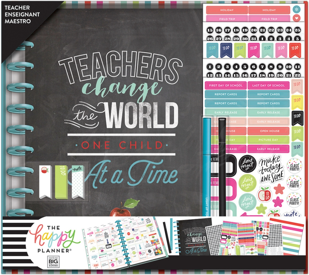 display of contents of The Happy Planner Teacher 12-Month Planner Box Kit
