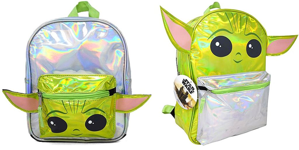 two holographic baby yoda themed kids backpacks