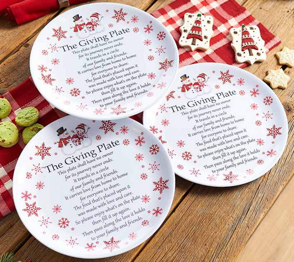 three giving plates with snowmen on them