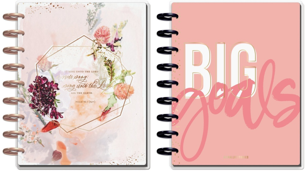 covers of The happy planner planners big goals and faith