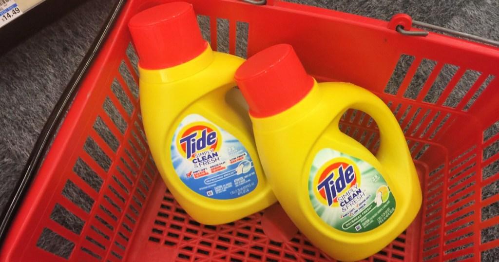Tide Simply Clean & Fresh detergent bottles in cvs basket