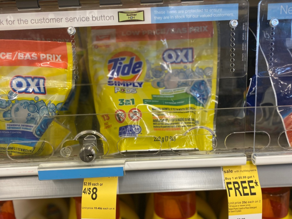 tide simply pods on walgreens store shelf