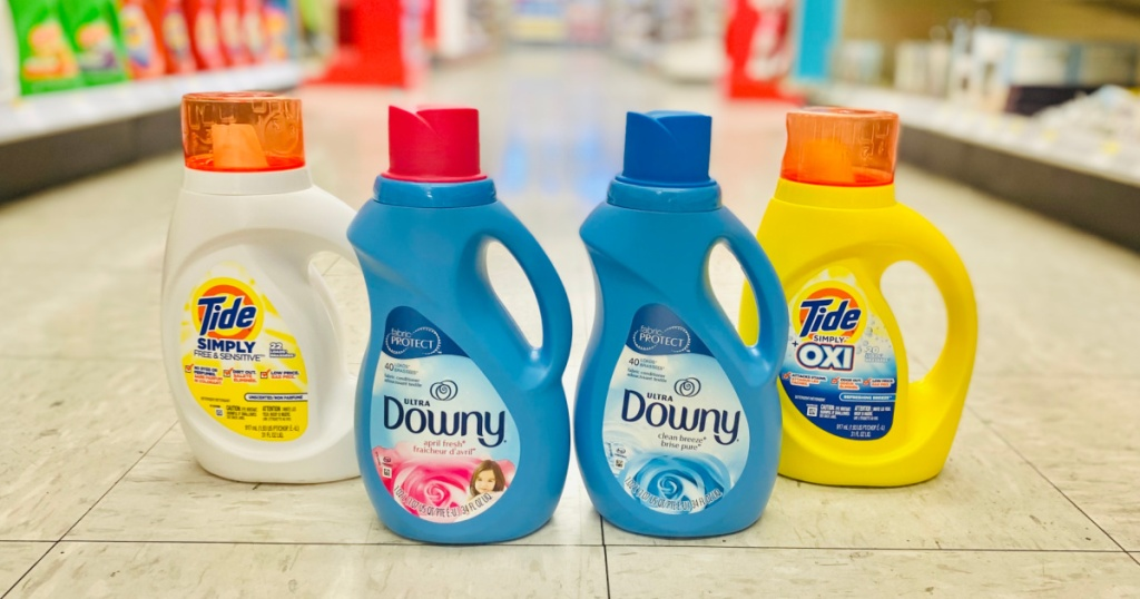 Tide and Downy Laundry Care on the floor at walgreens