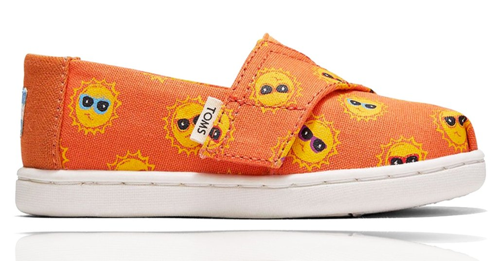 orange tiny tomes shoe with suns wearing sunglasses printed allover