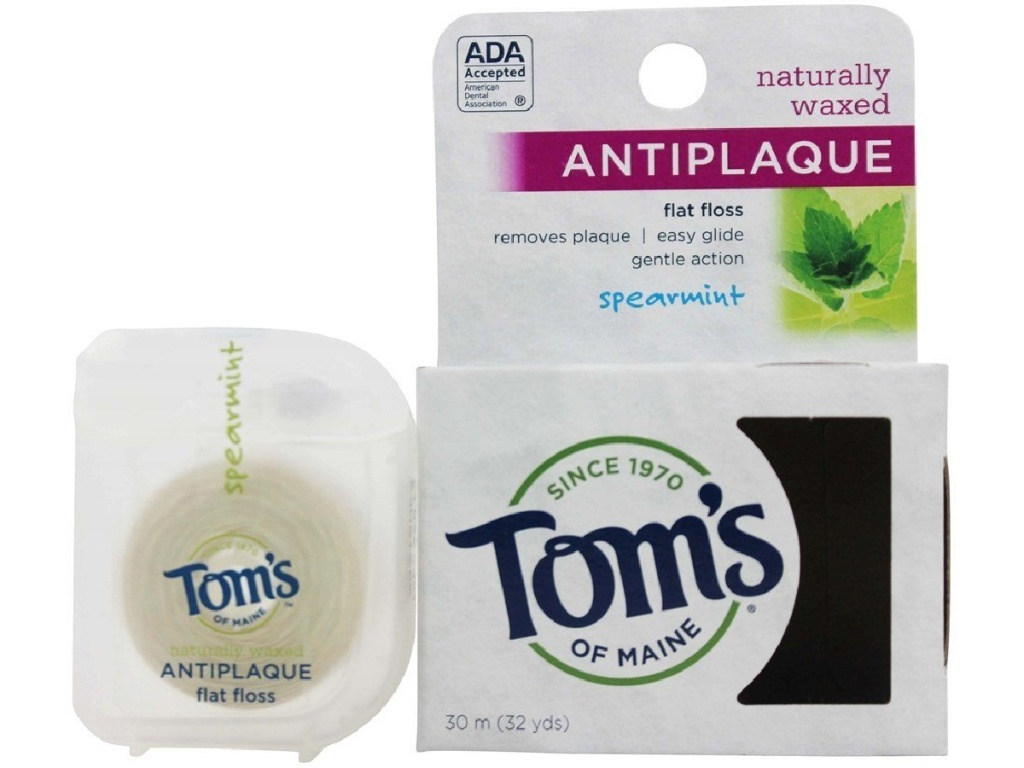 Tom's of Maine Anti Plaque Floss Spearmint 32 Yards