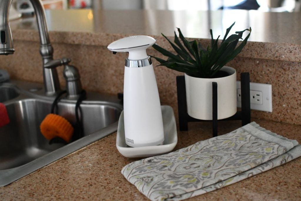 soap dispenser next to a kitchen sink