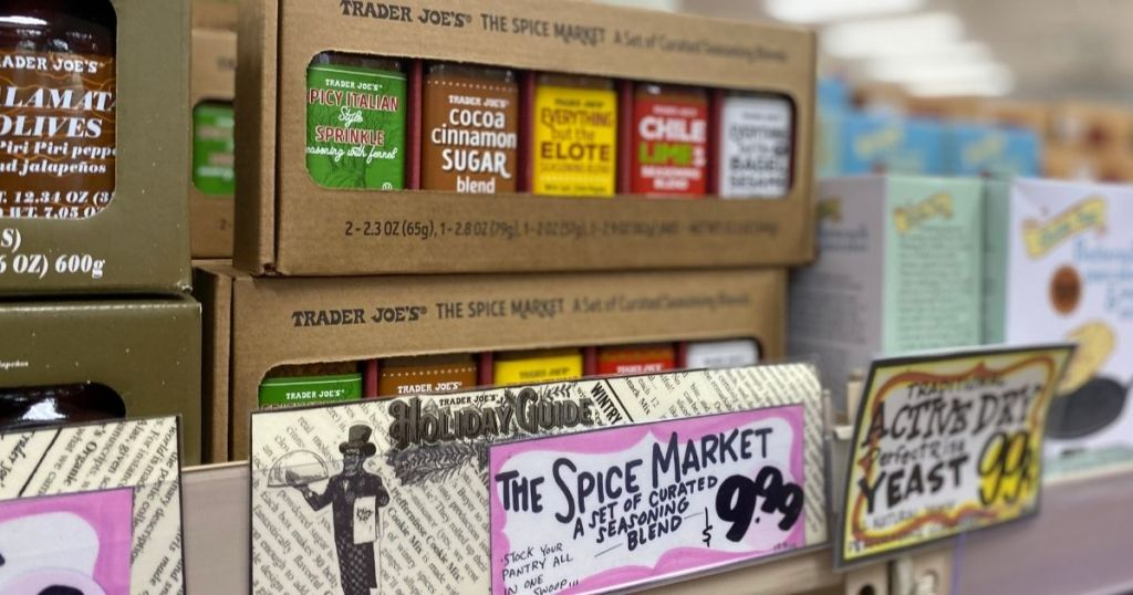 Trader Joe's The Spice Market Box on shelf with sign