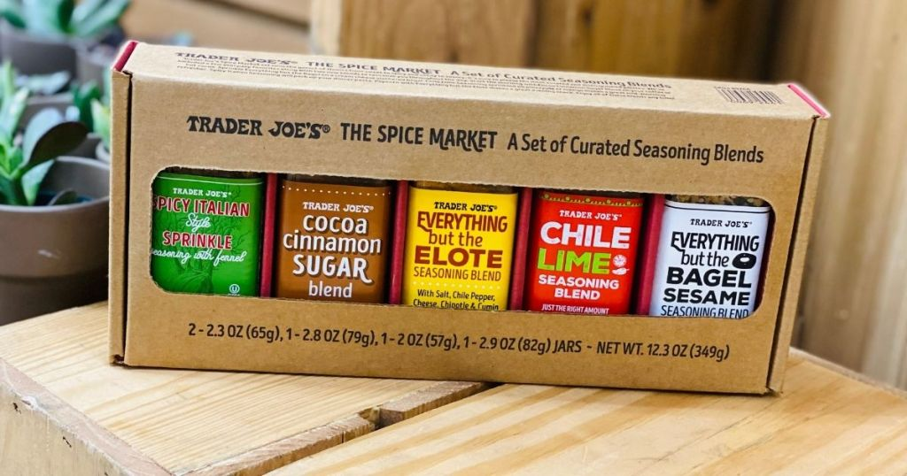 Trader Joe's The Spice Market Spices sitting on wooden crate
