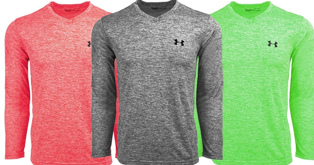 grey, red, and green Under Armour Long Sleeve V-Neck Tees