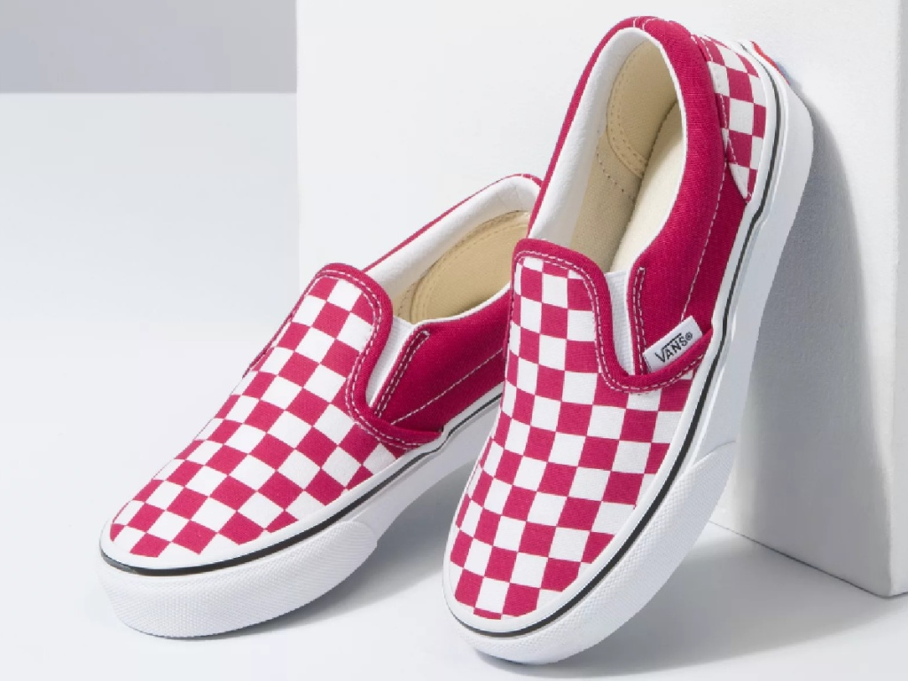 kids red/pink checkered shoes
