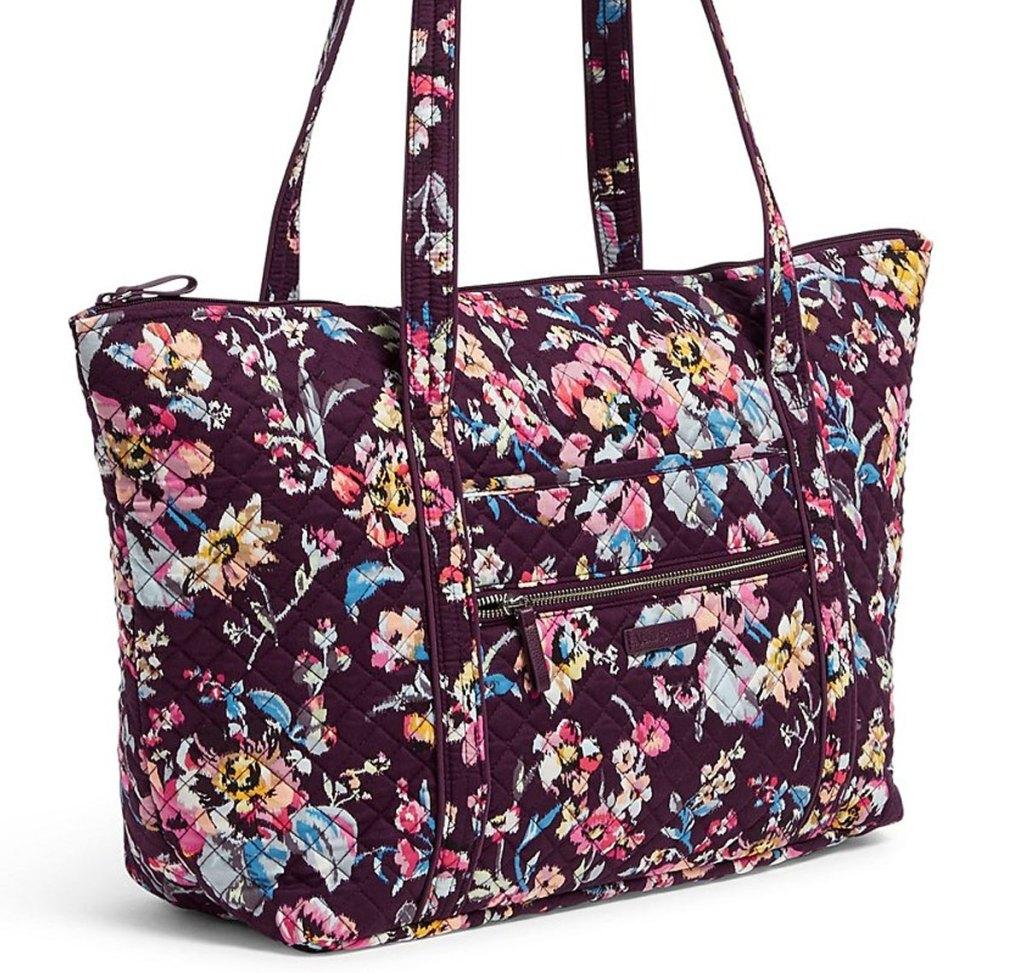 deep purple vera bradley floral print tote bag