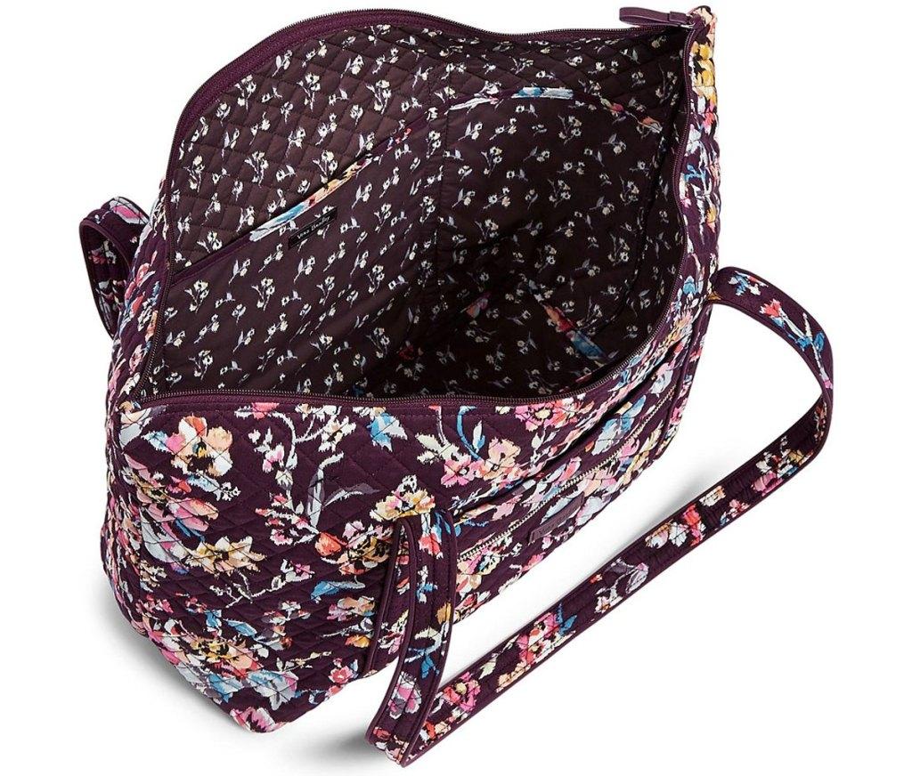 floral print vera bradley bag opened to show interior