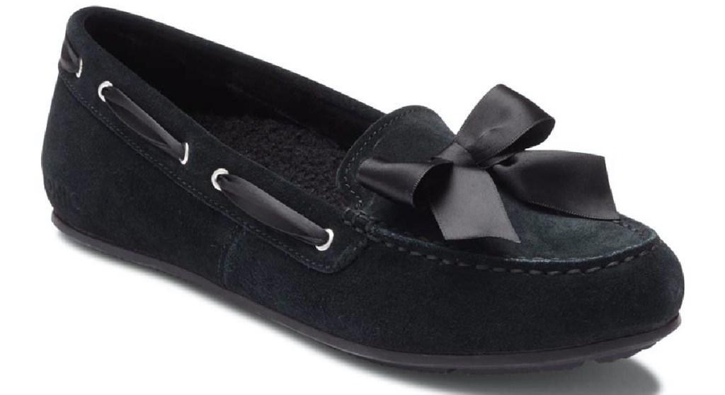 sandal suede hitam wanita dengan busur
