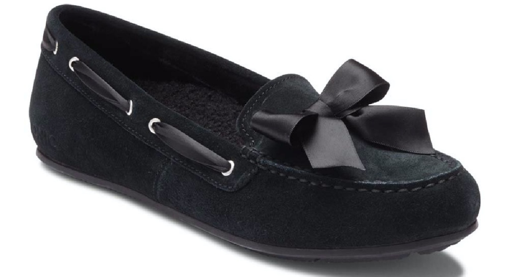 women's black suede slipper with bow