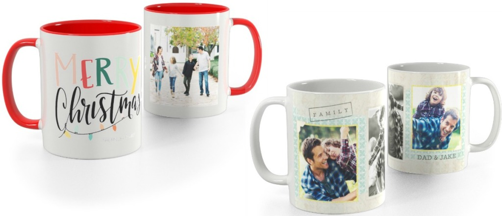 Two styles of photo mugs