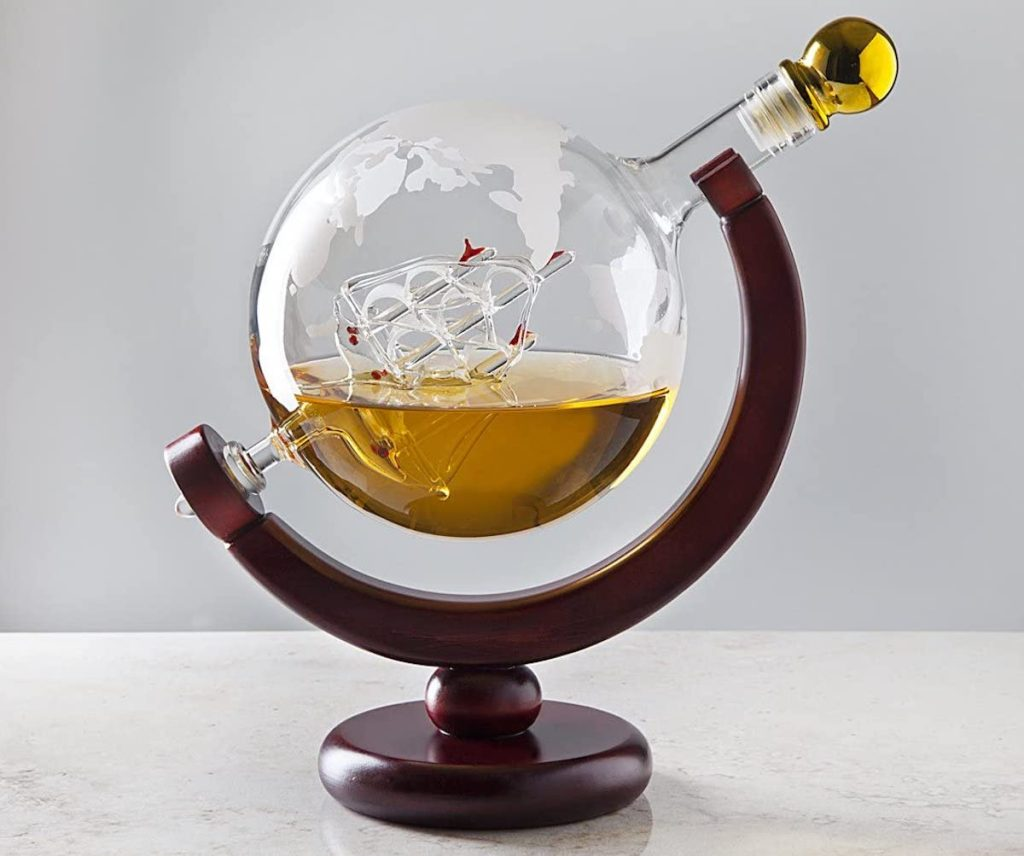 Whiskey Decanter Globe with whiskey inside