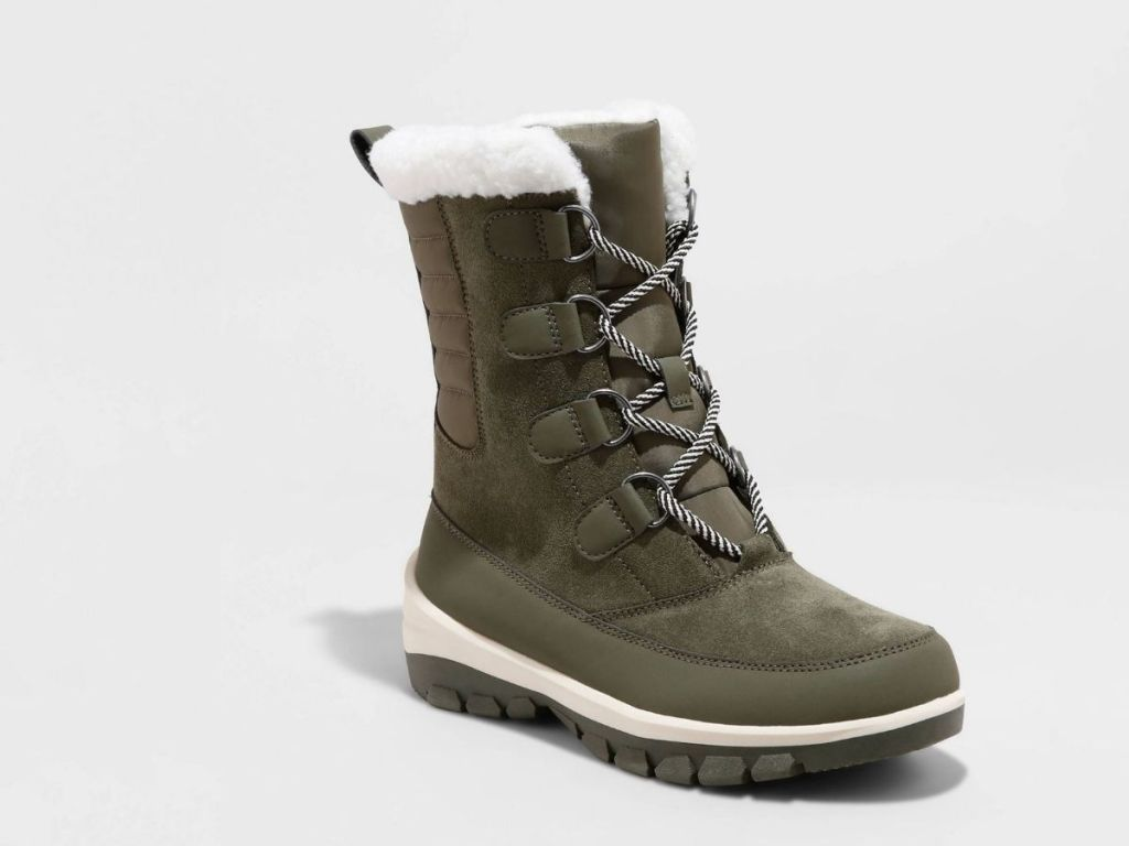 hunter green lace up boots with white fur