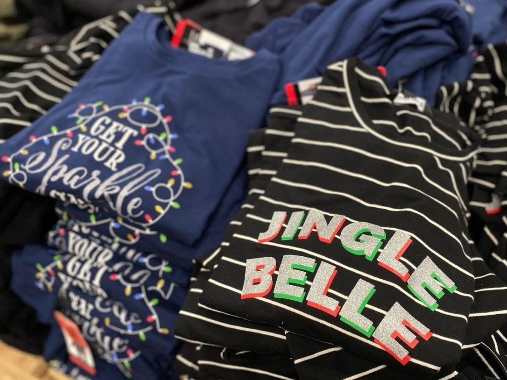 Women's holiday theme long sleeve crewneck shirts