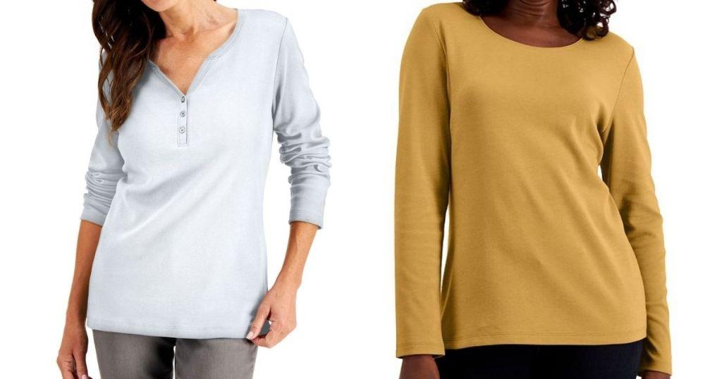 two women wearing long sleeve tops