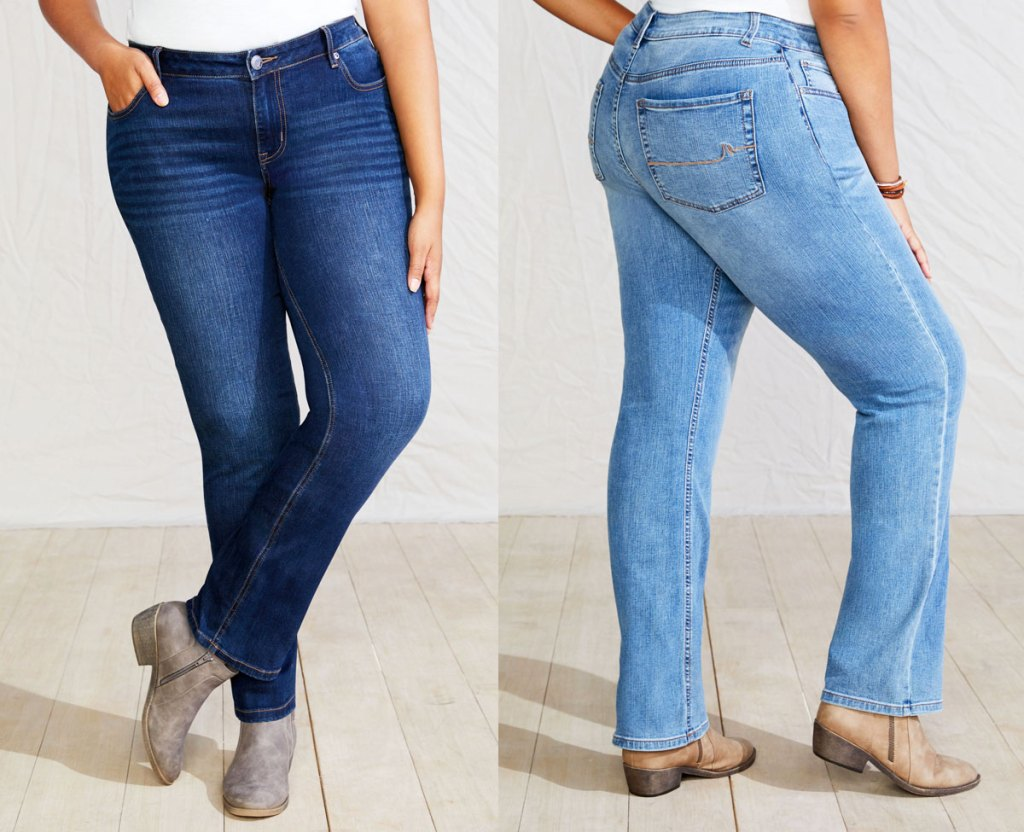 two women modeling jeans in dark and light washes