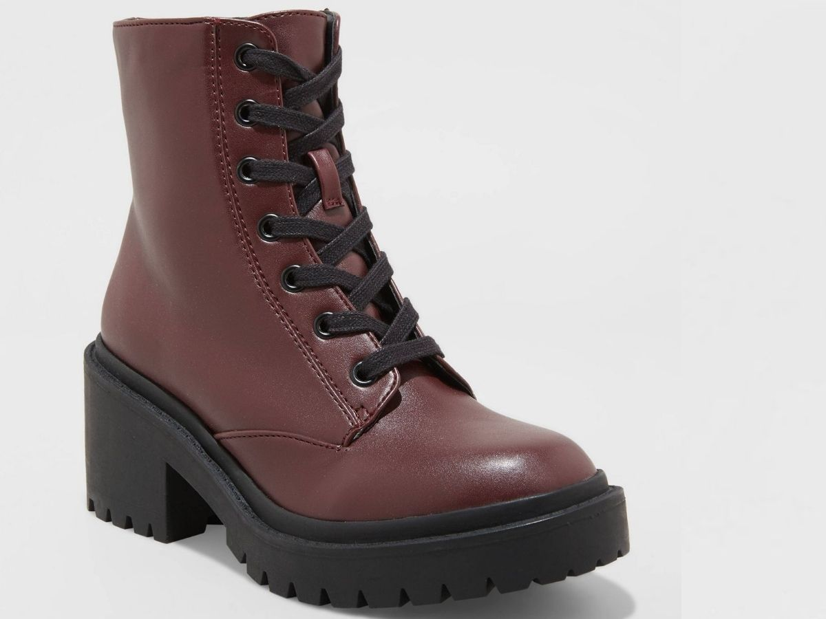 burgundy lace up boots