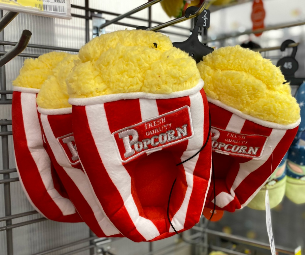 Popcorn themed kids slippers on display in-store