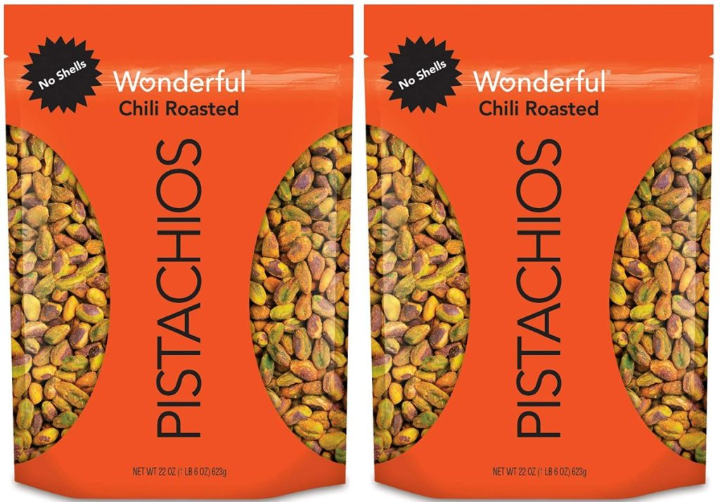 two bags of chili roasted pistachios