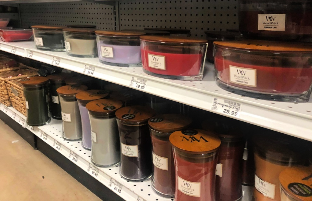 WoodWick Candles on Shelf at store