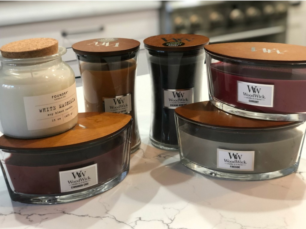 Woodwick Candles in kitchen
