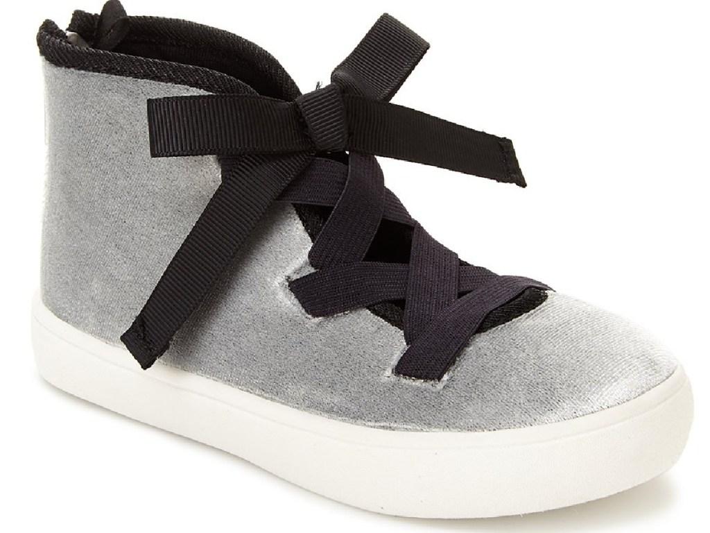 carters girls silver velvet and black sneakers