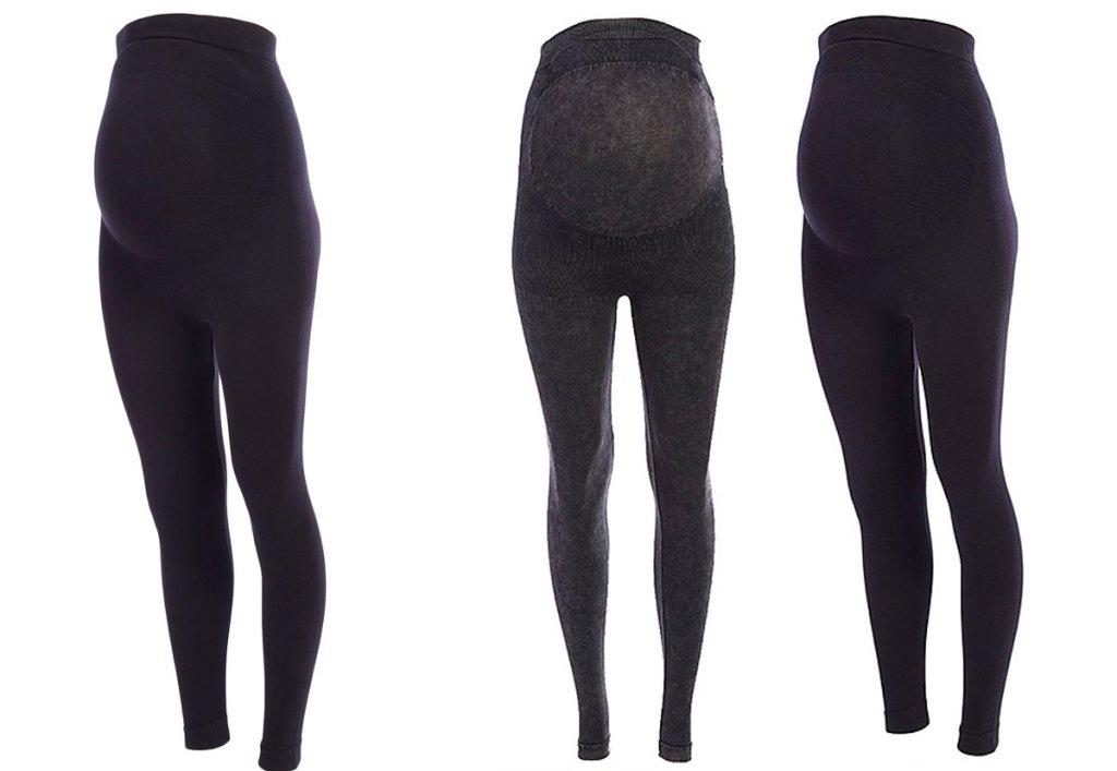 three pairs of maternity leggings in black and dark grey colors