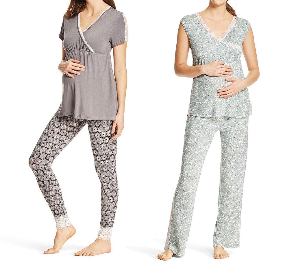 two women modeling matching maternity pajama sets