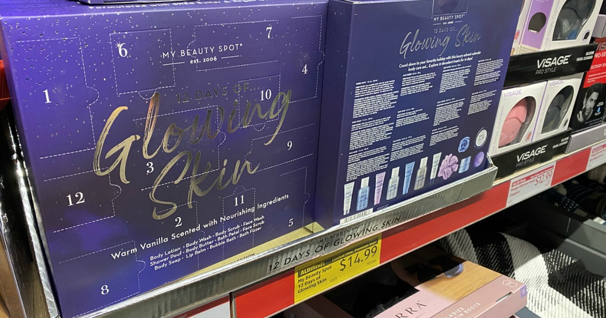 skin care advent calendars on an aldi store display