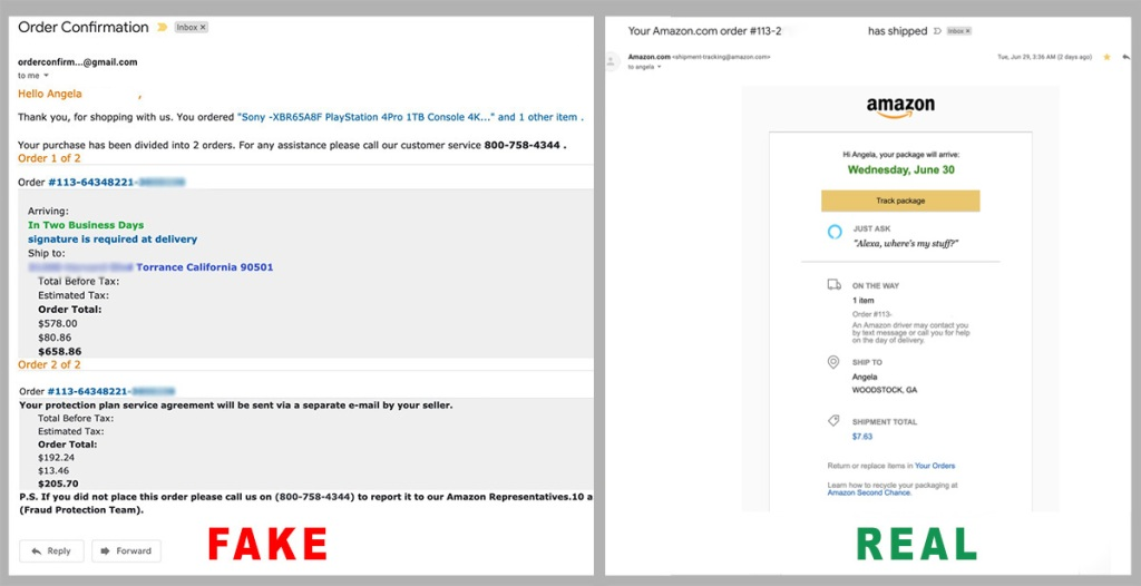 amazon scam email comparison