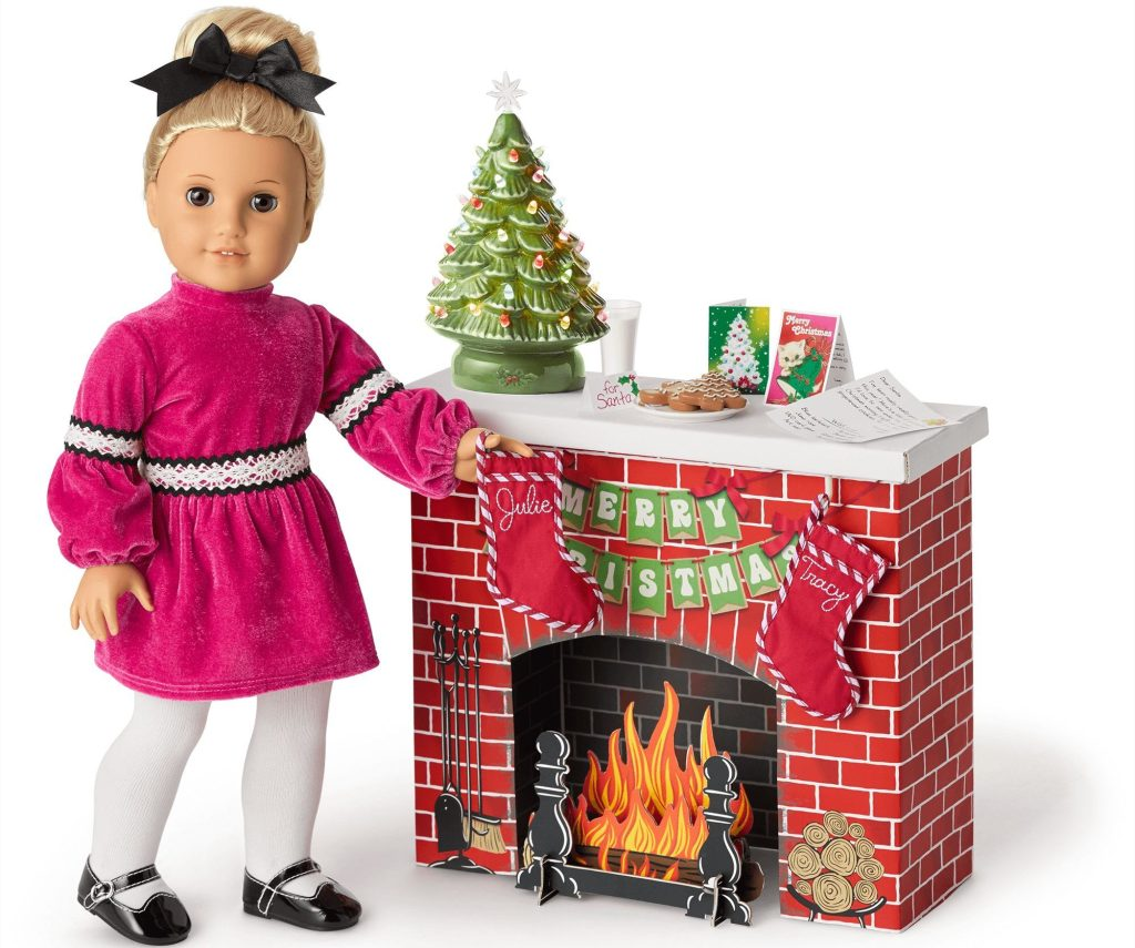 american girl fireplace with doll