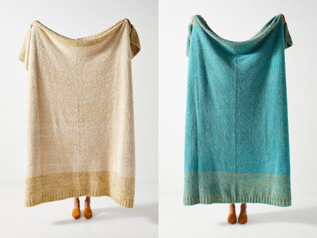 anthropologie blanket khaki and teal