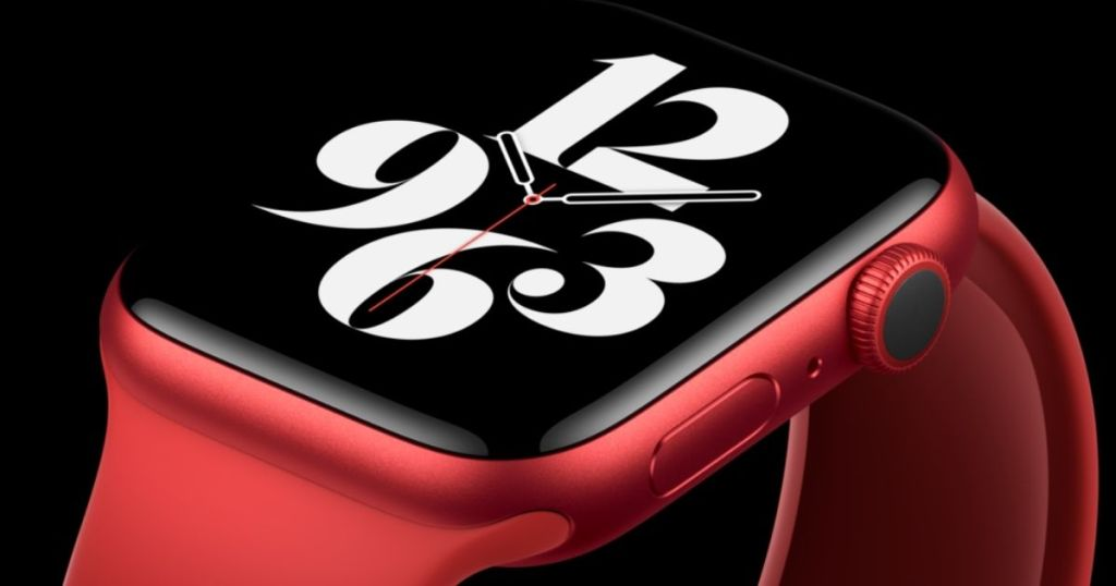 close up of face on apple watch product red