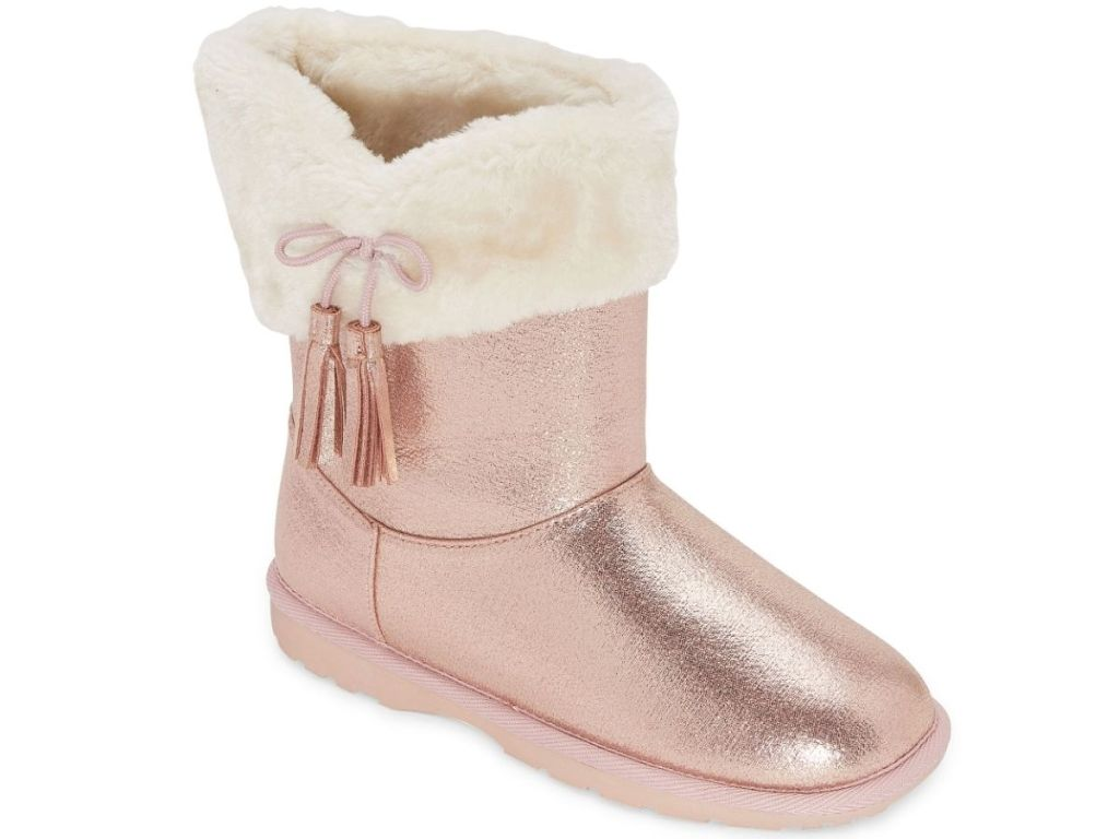 pink sparkly boots with pink bow on white fur lining