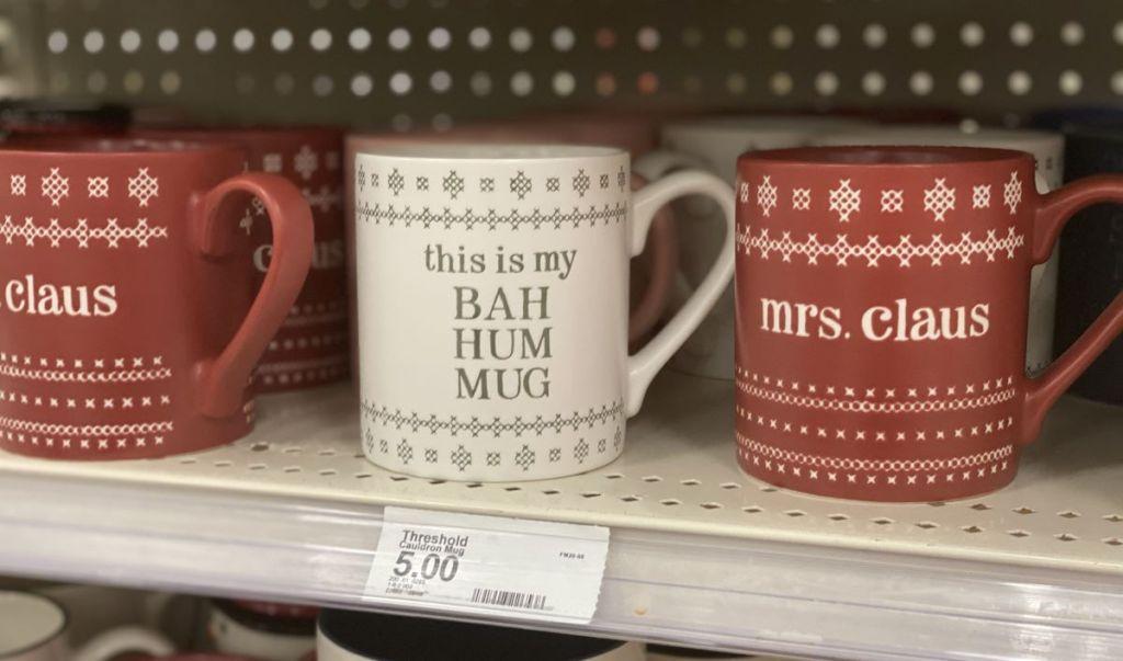 mugs on a shelf at Target