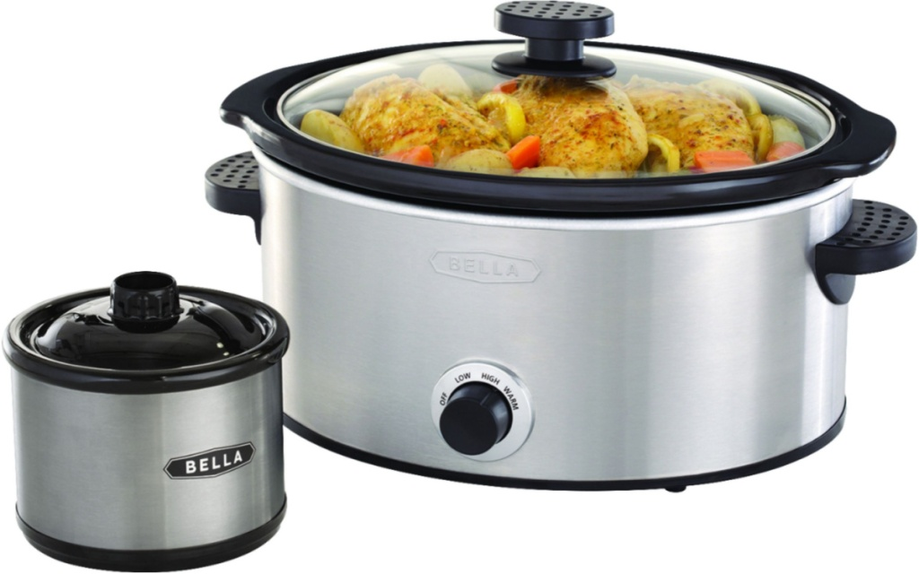bella slow cooker and dipper stainless steel side by side