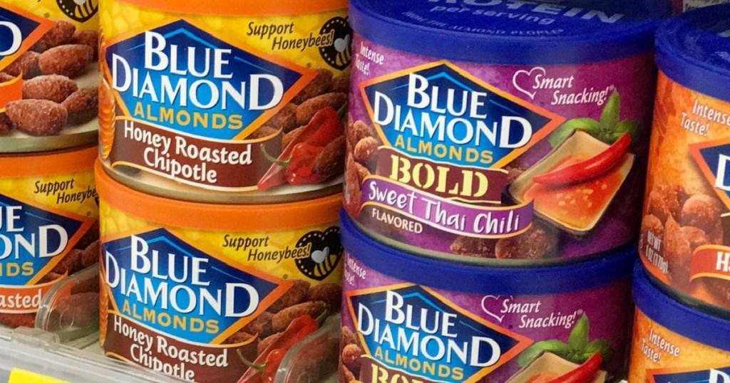 bold blue diamond almonds stacked on shelf